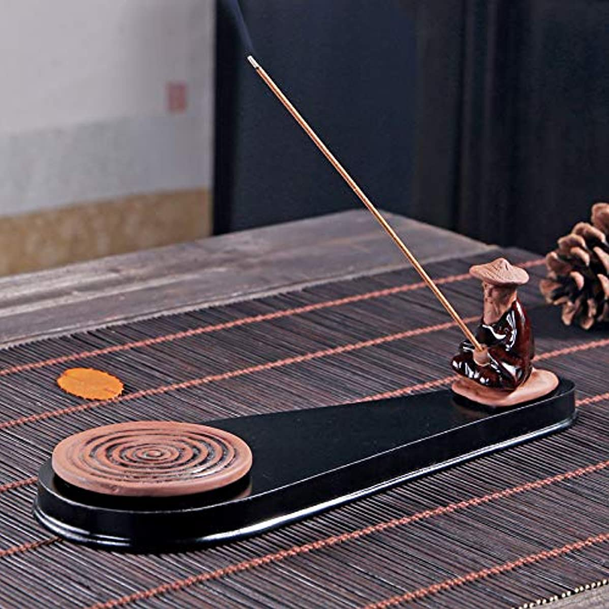 最少メジャーもっと少なくPHILOGOD 陶器香炉 手作り老人釣り 香置物 モデリング 線香立て 香皿