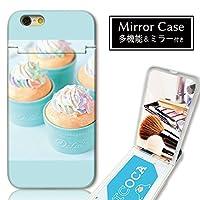 301-sanmaruichi- iPhone8Plus ケース iPhone7Plus ケース ミラーケース 鏡付き ミラー付き カード収納 おしゃれ スイーツ アイス パステル ガーリー ピンク B プリント ICカード iPhone6sPlus 6Plus ケース