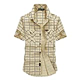 BININBOX メンズ シャツ 半袖 カジュアルシャツ 半袖シャツ ミリタリーシャツ 3色 M~5XL ME1110C Khaki 2XL