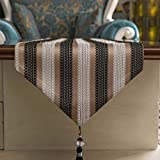 縞模様のテーブルランナー/屋外のピクニックテーブルクロス/長い装飾的な布/フリンジ付き/パーティー用品/ダイニングテーブルの場所マット/ドレッサースカーフ g (Color : Brown-, Size : 33×180cm)