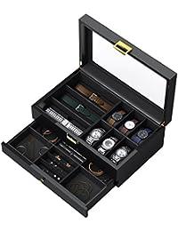 CRITIRON 腕時計収納箱 6本 2段式 腕時計収納ボックス 木製 高級 腕時計 収納ケース ウォッチ コレクション 時計 小物 アクセサリー 収納 黒