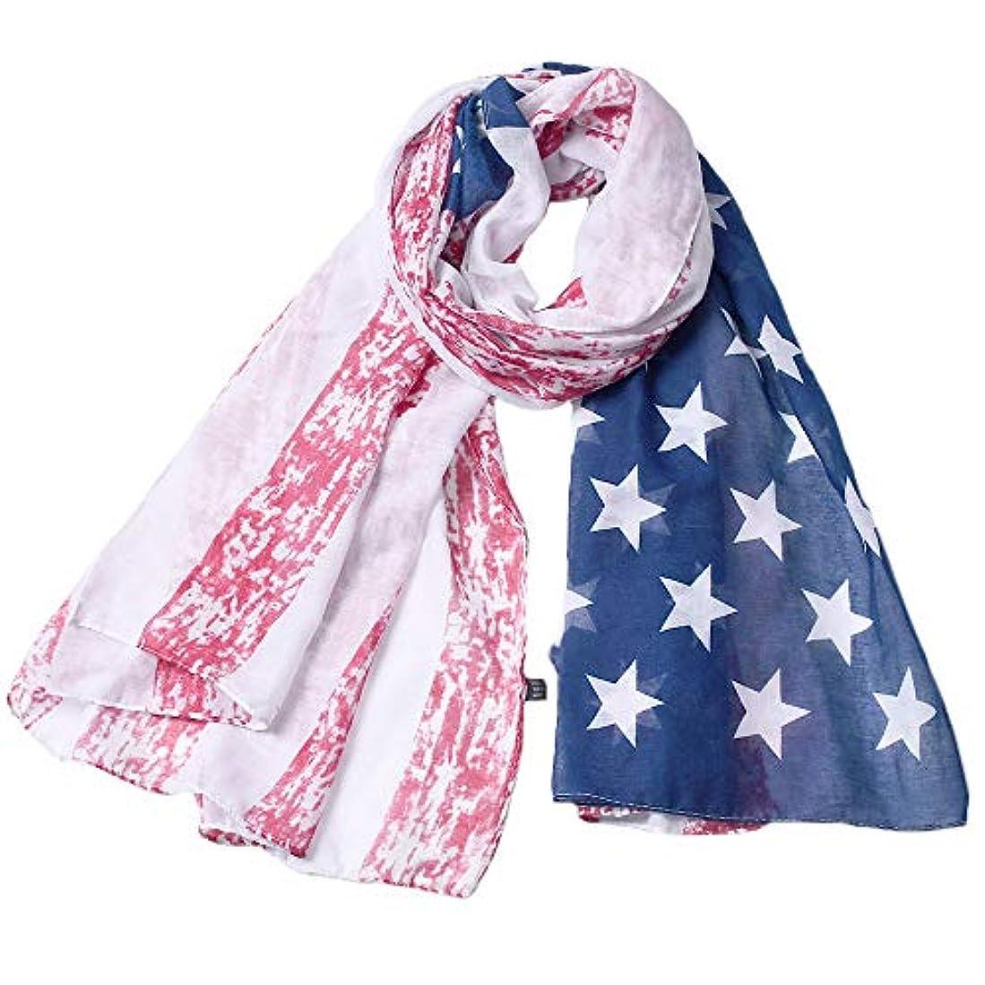 スケジュール整理するオペレーターXZP ヴィンテージVoileスカーフアメリカの国民の日のアクセサリープリント女性のためのファッションフラッグロングスカーフ