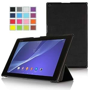 Sony Xperia Z2 Tablet ケース【選べる4色】【JPIVSO】オリジナルSony Xperia Z2 Tablet ケース,カバー PUレザーケース 超薄型 最軽量 全面保護型 スタンド機能付 -  Sony Xperia Z2 Tablet専用ケース (ブラック)