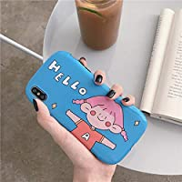 PHONE CASE PINGFUFF かわいい漫画の女の子8plus / 7p / 6アップルx携帯ケースiPhoneXS max/XR/iPhoneXメスiPhone 6sセットの創造的人格オールインクルーシブアンチドロップ保護カバー (Color : Blue, Size : IPhone 6plus/6s plus)