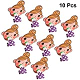 Amosfun 10Pcs Little Girl Blow Outs Cute Cartoon Kids Noisemaker Blowouts Whistles for New Year Birthday Celebration