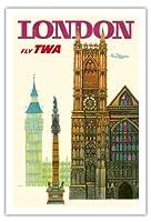 英国ロンドン - TWA (トランス・ワールド航空)で飛ぶ - ウェストミンスター寺院、教会 - ビンテージな航空会社のポスター によって作成された デイヴィッド・クライン c.1960s - アートポスター - 76cm x 112cm