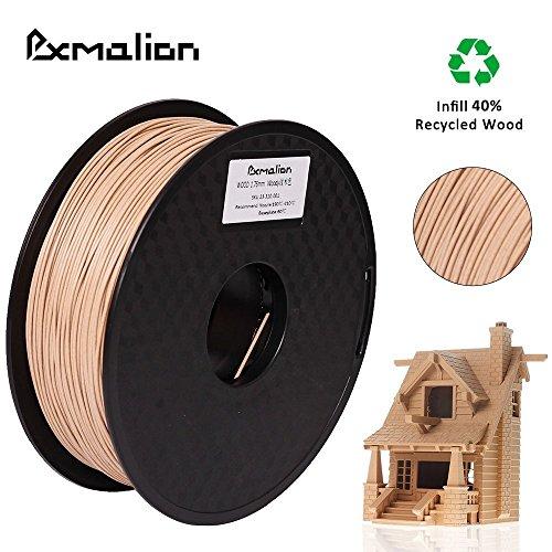 Pxmalion Wood ウッド 3Dプリンター用木造フィラメント素材 マテリアル木材木質材料 1.75mm径 正味量1KG(2.2LB) 精確度+/- 0.03mm だいぶの3Dプリンターと3Dプリントペンが適用 (原木色)