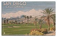 サンディエゴ、カリフォルニア州–ゴルフコースシーン 10 x 15 Wood Sign LANT-44943-10x15W