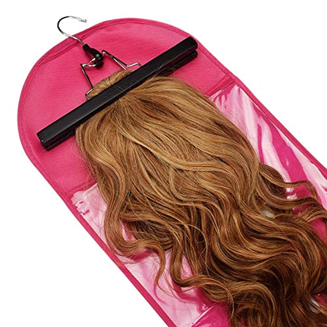 ミッション価値のない形美しさ 3個のヘアエクステンションかつら収納袋ハンガー防塵保護収納ホルダー ヘア&シェービング (色 : ピンク)