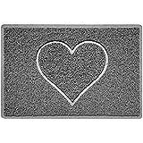Heart Embossed Shape Door Mat Dirt-Trapper Jet-Washable Doormat-(Use Indoor or Sheltered Outdoor)-(60x40cm/23.6x15.7inches, S