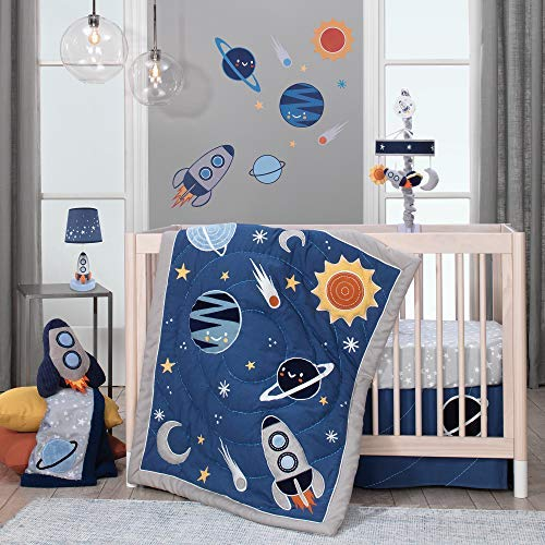 Lambs & Ivy Milky Way Space Galaxy 4-Piece Baby Nursery Crib Bedding Set - Blue/Gray
