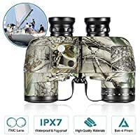 BNISE Military HD Binoculars - Navigation Compass and Rangefinder - 10x50 Large Object Lens BAK4 Large View - Waterproof and Fogproof - with Harness Strap and Neck Stap [並行輸入品]