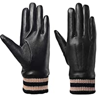 Leather Gloves for Women, Full Touchscreen Winter Gifts Warm Driving Texting Cold Weather Work Gloves