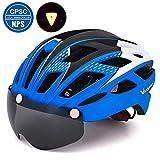 VICTGOAL 自転車 ヘルメット 大人用 LEDライト付きサイクルヘルメット 磁気ゴーグル 防虫ネット ロードバイクヘルメット 超軽量 高剛性 サイクリングヘルメット サイズ調整可能 男女兼用 自転車ヘルメット 57-61cm (新しい蓝)