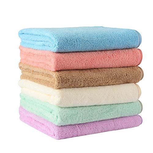 フェイスタオル マイクロファイバー タオル なめらか&ふわふわ 柔らかい 肌に優しい 瞬間吸水 速乾 抗菌 防臭家庭&業務用 約35*75cm 6色6枚セット