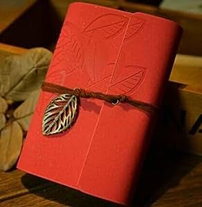 【Amateras】エルフの森 ノートブック 木の葉 模様 アンティーク 手帳 レザー 日記 無地 インテリア 錨 雑貨 ノート メモ 雑記帳 かわいい おしゃれ 【AM134】 (パールレッド)