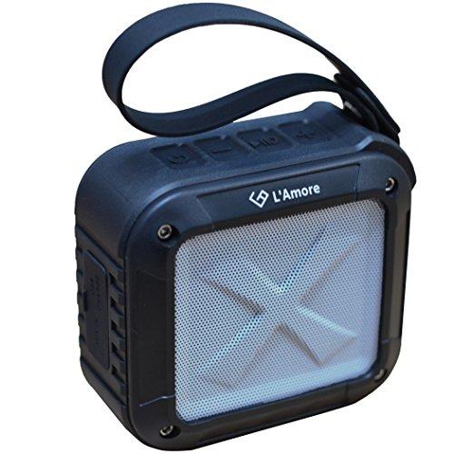 L'Amore 防水 Bluetooth4.0 スピーカー bluetooth ポータブル 持ち運び 軽量 重低音 15時間連続使用 (ブラック) アウトドア ダンス イベント 【18ヶ月保証】