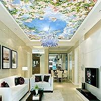 Lixiaoer カスタム写真の壁紙3Dステレオ青空白い雲花鳩天井壁画リビングルームホールホテル壁紙-150X120Cm
