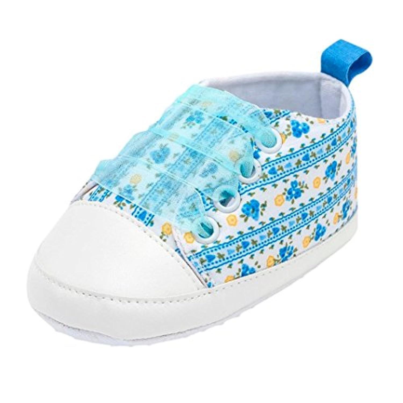 Vacally 新製品 超人気 赤ちゃん ベビーガール レース 花 印刷 幼児用靴 ベビーシューズ アウトドア ノンスリップ ソフト ファッション かわいい プリンセ Toddler shoes