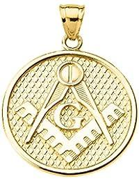 14 KイエローゴールドFreemason Masonic Square &コンパスペンダント