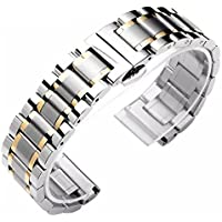Brushed&Polished Stainless Steel Watch Band Strap Bracelet Butterfly Clasp
