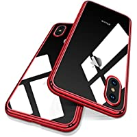 iPhone X ケース iPhone X バンパー [ メタリック 水洗い可 ] [ ワイヤレス充電 対応 ] [ 超薄型 超軽量 ] [ 気泡防止 擦り傷防止 ] [ おしゃれ 高級感 ] アイフォンX用耐衝撃カバー ( iPhone X , iPhone 10 , レッド )【Humixx】