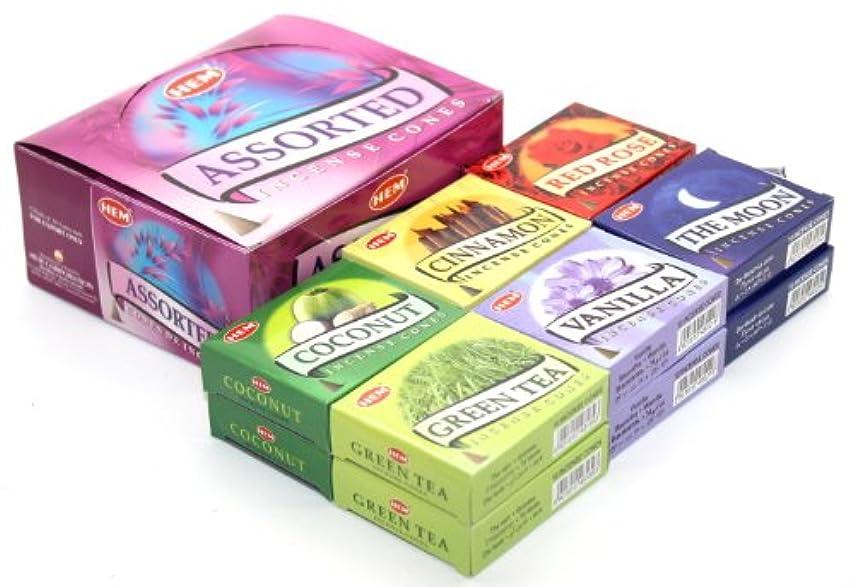 寺院ドラムジョイントHEM Assorted Incense Cones - 12 Packs of 10 Cones Each - With 6 Different Scents: Vanilla, Cinnamon, The Moon,...