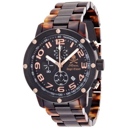 [エンジェルクローバー]Angel Clover 腕時計 ROENコラボレーション ベッコウ柄文字盤 ステンレス(BKPVD)/アセテートケース ステンレス(BKPVD)/アセテートベルト デイト 10気圧防水 クロノグラフ ES43ROBW メンズ