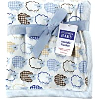 Hudson Baby Sheep Printed Blanket with Plush Backing, Blue (Discontinued by Manufacturer) by Hudson Baby