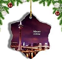 Weekino中国マカオタワークリスマスオーナメントクリスマスツリーペンダントデコレーション旅行お土産コレクション陶器両面デザイン3インチ