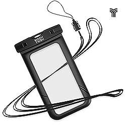 防水ケース iPhone7  YOSH®防水ケース スマホ用 防水携帯ケース iPhone7   iPhone8 指紋認証対応 透明パック iPhoneとAndroid 6インチ以下全機種対応 ネックストラップ付属 IPX8認定 水中撮影 お風呂 潜水 温泉 水泳など適用 ブラック