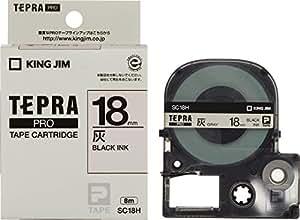 キングジム テープカートリッジ テプラPRO 18mm SC18H 灰ラベル