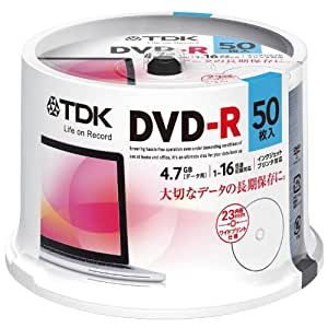 TDK データ用DVD-R 4.7GB 1-16倍速対応 ホワイトワイドプリンタブル 50枚スピンドル DR47PWC50PUE