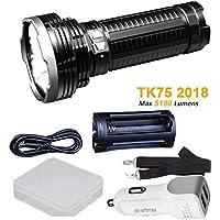 Fenix tk75 5100ルーメン2018 Edition 4 Cree LED懐中電灯/サーチライトwith 1 x 18650バッテリーケース、arw-10車充電器