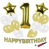 SUNBEAUTY  空気入れ付き 1歳 バースデー 飾り付け セット ハッピーバースディー ガーランド アルミ 風船 バルーンデコレ 誕生日写真背景