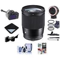 Sigma 16mm f / 1.4DC DN Contemporaryレンズfor Sony・Eマウントカメラ、ブラック–バンドルwithfocusshifter DSLRフォローフォーカス、ピークレンズ変更キットアダプタ、Flexレンズシェード、PCソフトウェアパッケージ。And More
