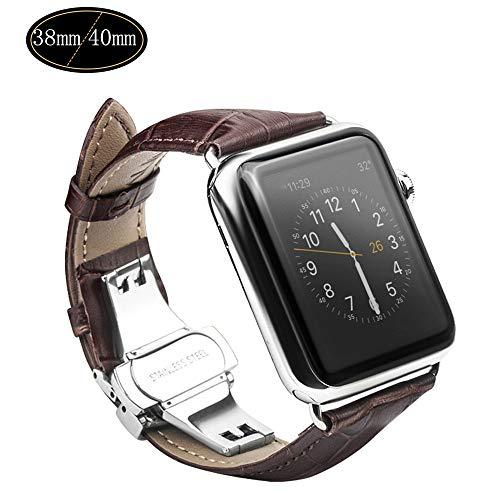 Xboun コンパチブル apple watch バンド,本革 ビジネス用 アップルウォッチバンド プッシュ式 Dバックル Apple Watch Series 4/3/2/1/Nike+ (40mm/38mm,ブラウン)