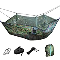 Lightweight Portable Foldable Double Camouflage Parachute Hammock Tent with Mosquito Net Hanging Bed for Outdoor Military Camping Hunting Backpacking Travel Include Tree Straps Hooks Storage Bag [並行輸入品]