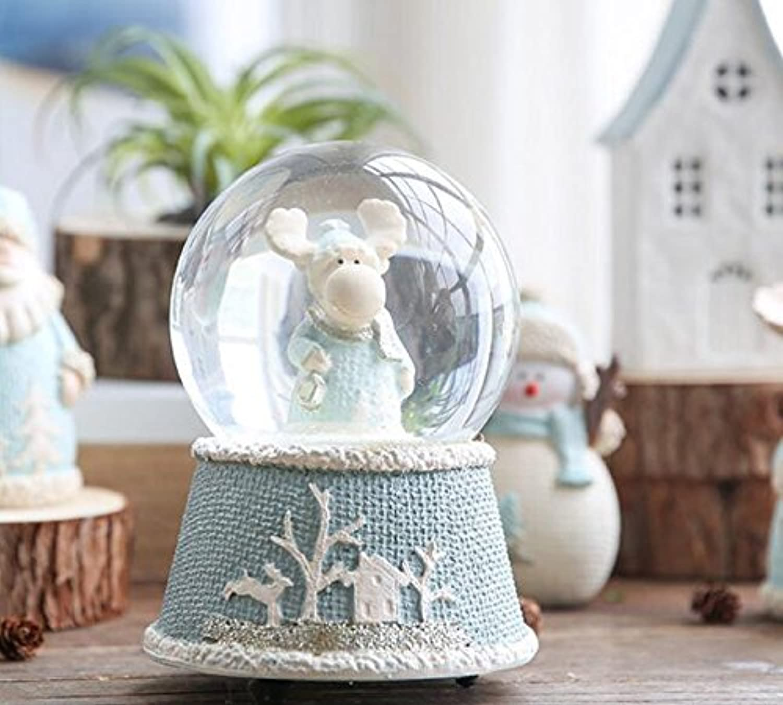 Royarebar クリエイティブ ベビー おもちゃ オルゴール メリー クリスマス エルク クリスタル ボール オルゴール 時計仕掛けミュージカルボックス クリスマス装飾オーナメントギフト