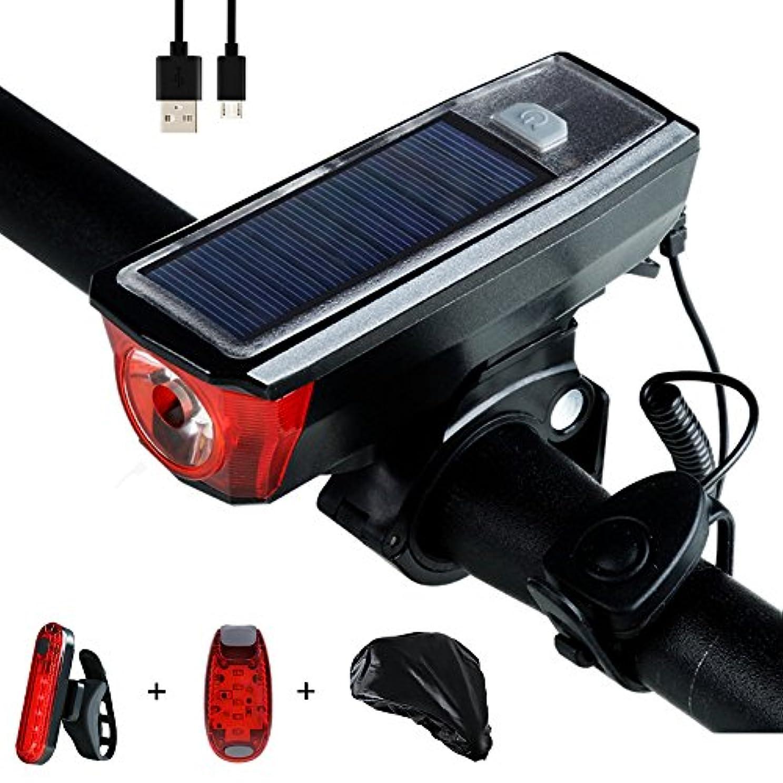 うれしい忌み嫌う彼らのものYOSKY ソーラーパワー自転車ライト ベル付き120DBスピーカーを持つ USB充電&ソーラー充電ヘッドライト 350流明の明るさ 4モード 防水Ledバイクライトは尾灯を持つ 戸外サイクリング用のライトセット