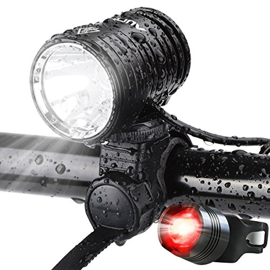 故障中何よりもオデュッセウスAUOPRO スーパーブライトバイクライト フロントとバック 1200ルーメン USB充電式自転車ヘッドライト LEDリアテールライトセット サイクリング安全アクセサリー 男女兼用