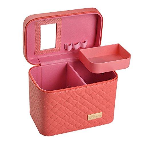 Remeehiコスメポックス 化粧ケースメイクボックス 化粧品 化粧道具収納 ポックス 化粧箱 コスメ収納ケース 化粧ボックス 機能的 大容量 鏡付き スイカレッド