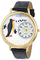 ペンギン 黒レザー ゴールドフレーム時計 #G0140006