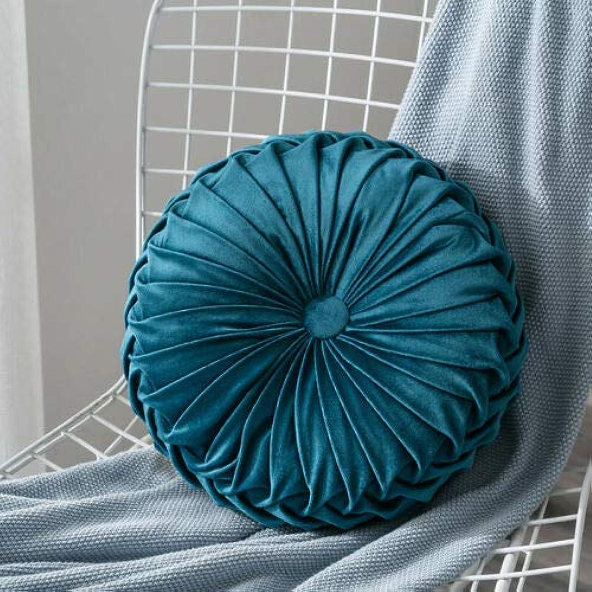 団結する振幅LIFE ベルベットプリーツラウンドカボチャ枕ソファクッション床枕の装飾 クッション 椅子