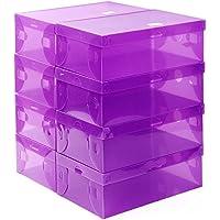 シューズボックス 収納 10箱入り 透明クリアーケース シューズケース 靴箱 女性用 (パープル)