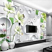 Weaeo 3Dスクエアユリ花新鮮なステレオテレビの壁壁の壁画カスタム大きな壁画の緑の壁紙-280X200Cm