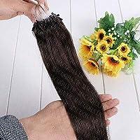 FidgetGear 7A 16-26インチのRemyの人間の毛髪延長の容易なループマイクロリングシリコーンビーズ #02ダークブラウン