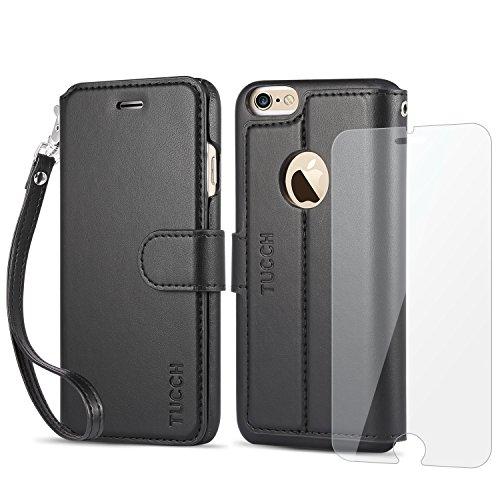 iPhone6s ケース / iPhone6 ケース 【TUCCH】 PUレザー 手帳型 ケース「強化ガラスフィルム付き」カードポケット ストラップ スタンド機能付き マグネット式 アイフォン6s / 6 用 財布型 カバー ブラック