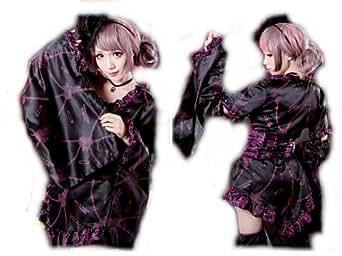 【ゴスロリワールド】GLP ゴシック 刺繍 和風 振袖 上下セット バイオレット 紫