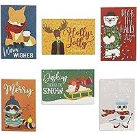 Pipilo Press クリスマスヒップスターカードセット 48枚パック 6種類の動物デザイン 4 x 6インチ